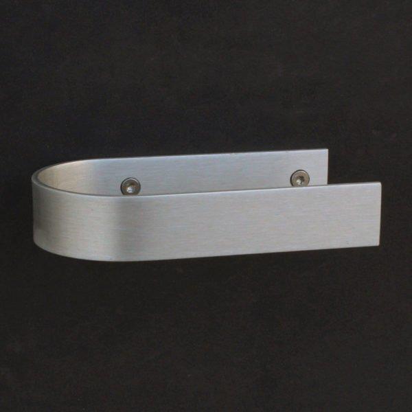 Toiletrolhouder design geschroefd in geanodiseerd aluminium met een open zijde