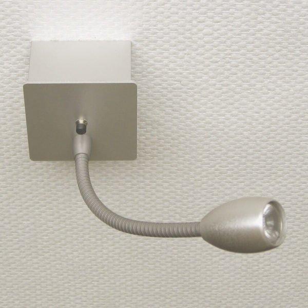 Leeslamp flexibel opbouw met LED verkrijgbaar met schakelaar aluminium kleur