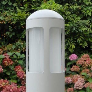 Garden lamp 62 cm MEDIUM 360 ° light grey with flower background